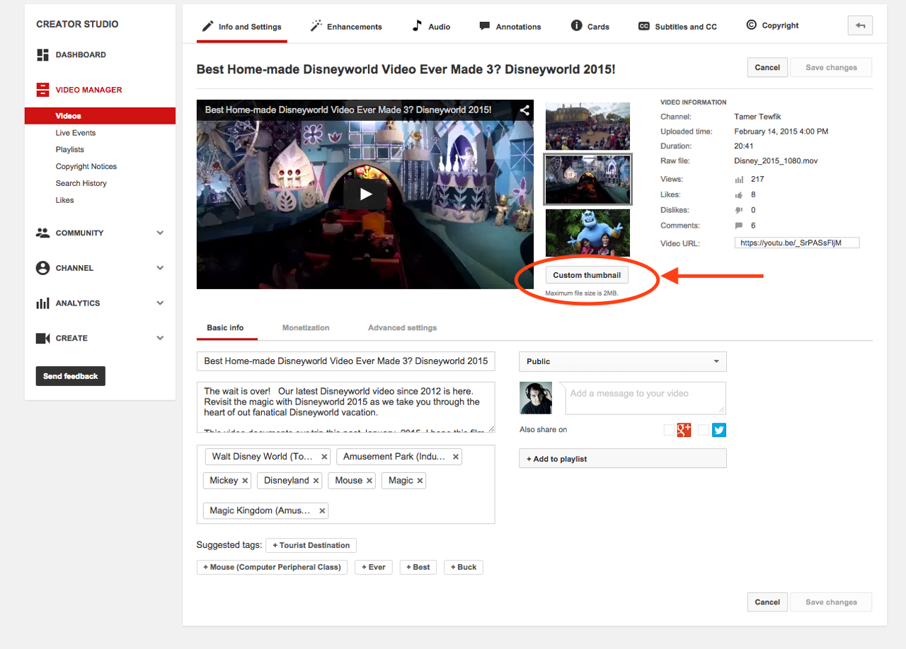 Use a specific image for your YouTube video thumbnail | SQ
