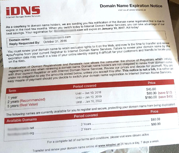An example domain slamming letter from a scammer that you may receive around the time that your domain may be renewing.